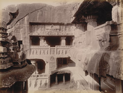 Side gallery Inder-sabha cave (from above] [Ellora]